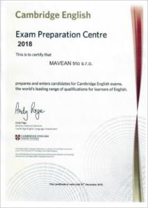 Certifikát Exam Preparation Centre